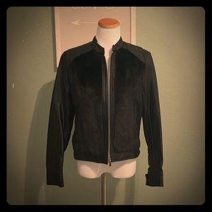 Vegan leather & faux fur zip jacket